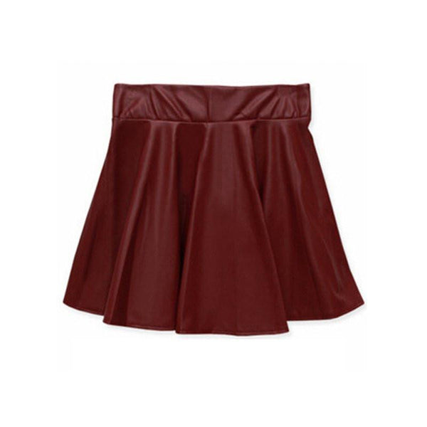 c83017bbec Women Ladies Faux Leather High Waist Skater Flared Pleated Short Mini Skirt