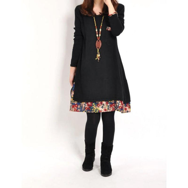 Women Floral Pieced Loose Casual Pullover Warm Skirt Dress Clothing LY7
