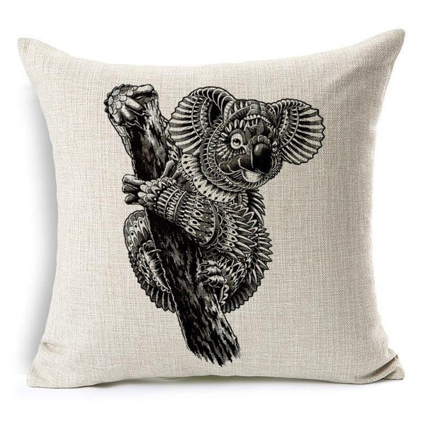 Wild Animal Decorative Cushion Cover 45x45CM (18x18IN) Elephant Owl Elk Square Throw Pillow Cover Cotton Linen Pillow Case