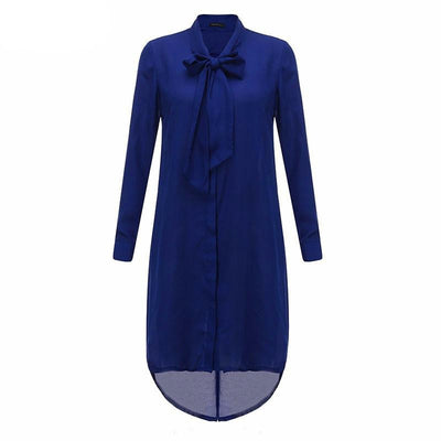Women Shirt Dress Bow Long Sleeve Casual Amsymetircal Chiffon Blouse Tops Plus Size S-5XL