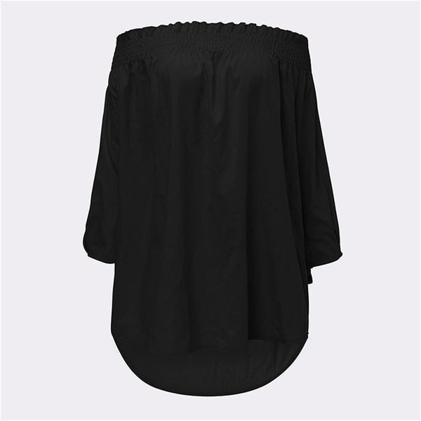 Sexy Off Shoulder Blouse Women Slash Neck 3/4 Sleeve Loose Shirts Casual Top Plus Size