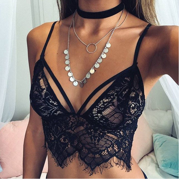 Online discount shop Australia - Bustier Crop Top  Sexy Camisoles White / Black Bralette Bras Women Brandy Melville Short Lace Beach Tank Crop Tops
