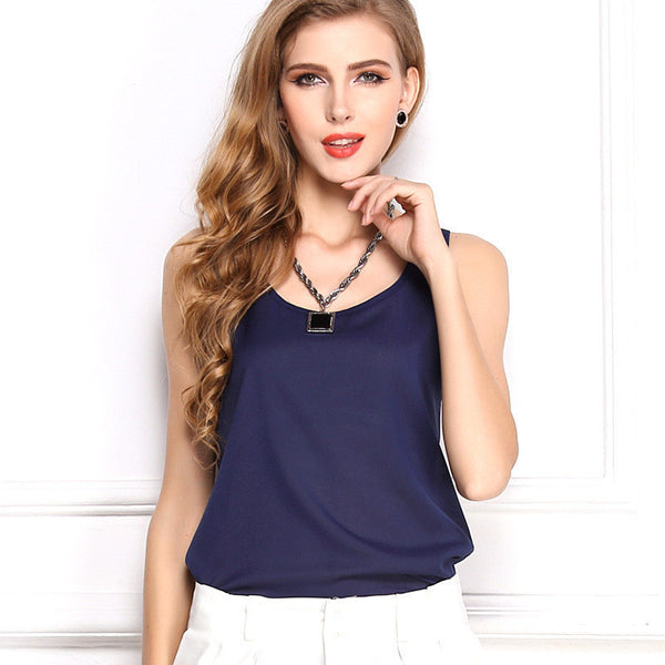 Online discount shop Australia - explosion models chiffon shirt bottoming shirt Women Sleeveless Sexy Loose Casual Top Vest Camis Blouse New Fashion