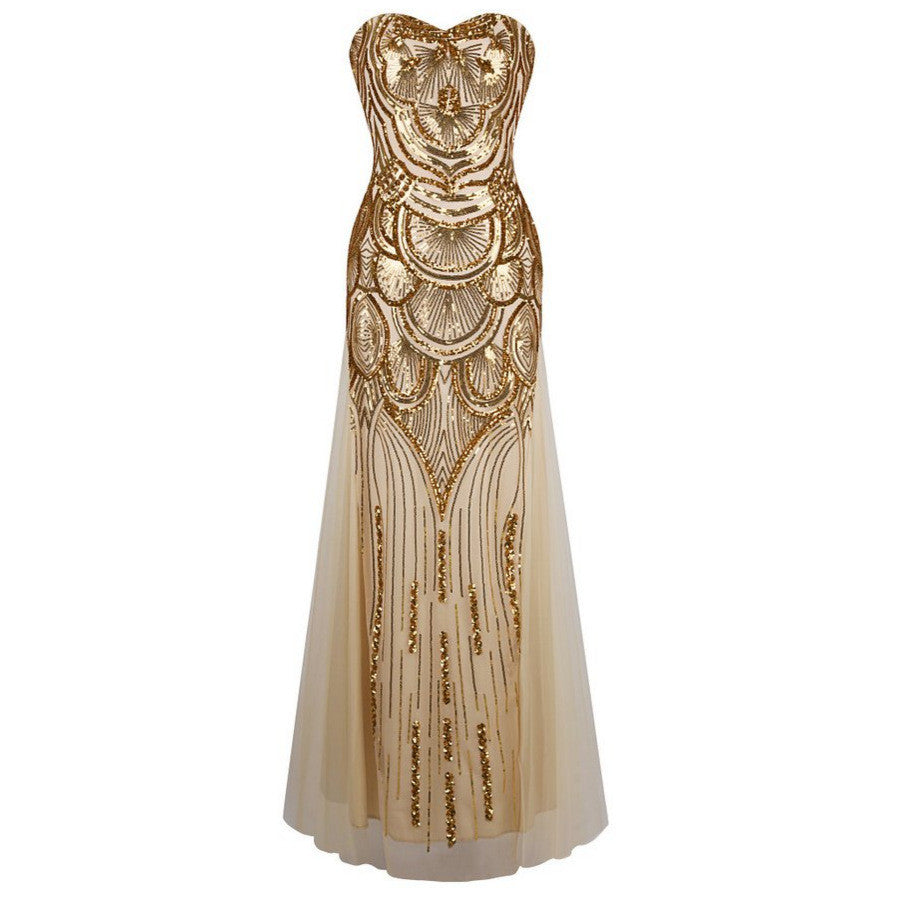 c35d3b649e19b 1920s Long Strapless Gold Off-Shoulder Dress Art Deco Gatsby Vintage  Vestido Sequined Shining Sexy Party Gown With Recoil Belts