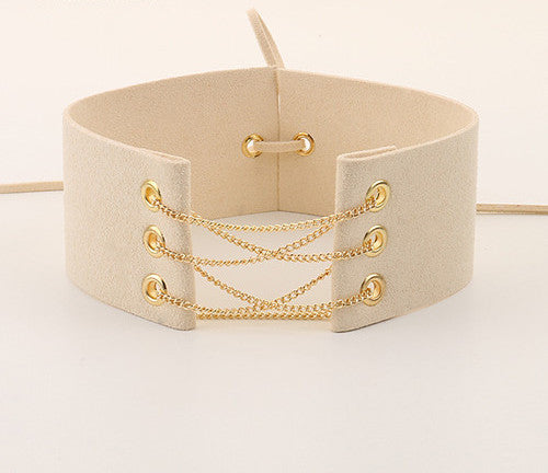 Glamorous Black Velvet Choker With Gold Chains Statement Necklace Link Chain Lace Up Chokers Necklaces Chocker 8 Colors