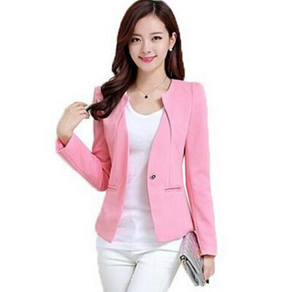 Women Slim Blazer Coat Fashion Casual Jacket Long Sleeve One Button Suit Ladies Blazers Work Wear