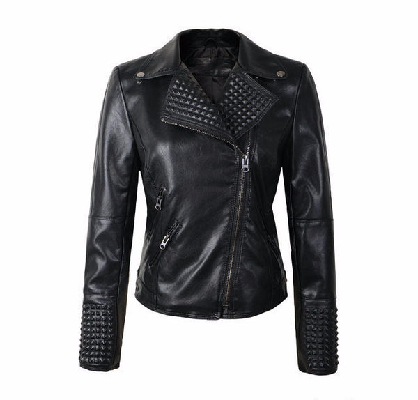 New Women Leather Jackets Fashion Female Rivet  Brand Coat Outwear