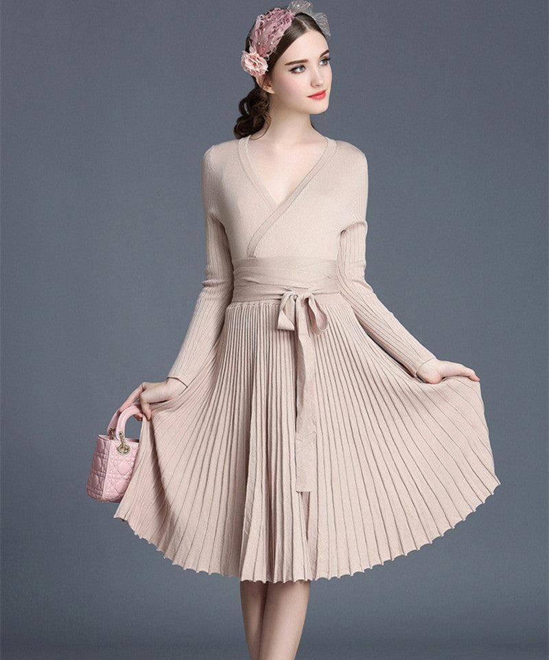 Online discount shop Australia - Autumn Women's Fashion Sweaters Dresses A-line Deep V Neck Belted Pleated Vintage Dress Long Sleeve Knitting Dress