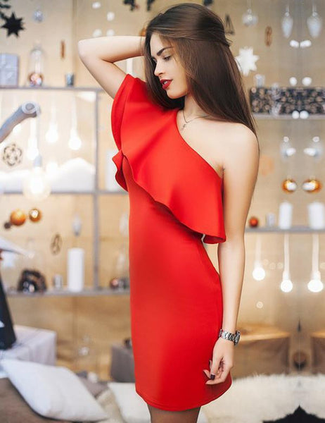 Sexy Women Dress Dresses Sexy Shoulder Flouncing Package Hip Slim Solid Color Fashion Sexy Casual Dress Dresses