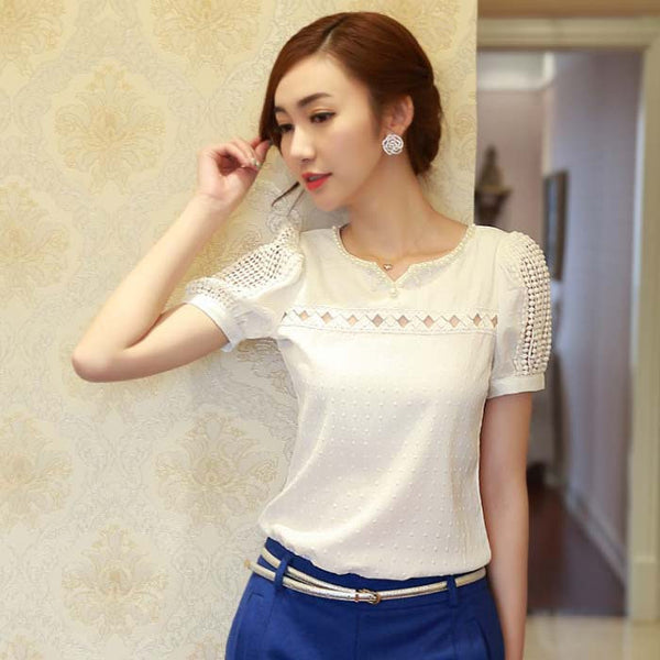 Online discount shop Australia - Lady Women Lace Short Sleeve Shirt V Neck Doll Chiffon Tops white