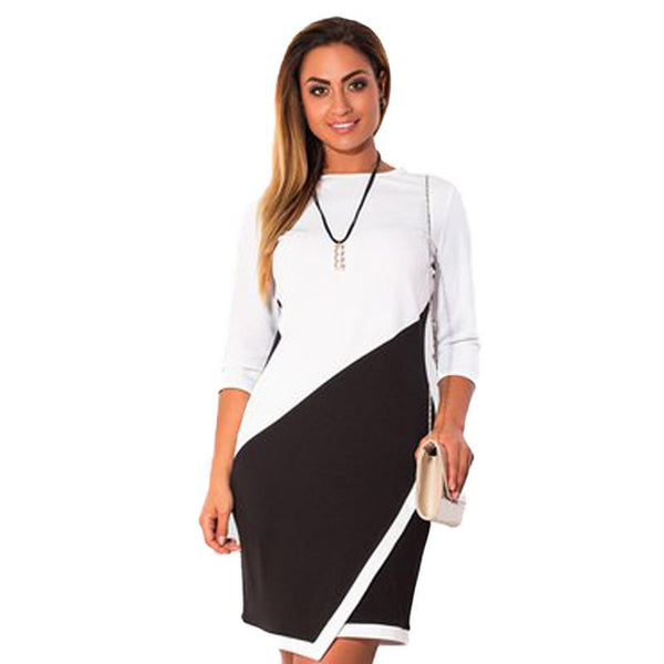 women casual sheath patchwork dress fashion bodycon knee length party dresses 5xl 6xl plus size
