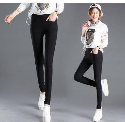 Women Pencil Pants Casual Elastic Waist Skinny Trousers Plus Size Black White Stretch Pants