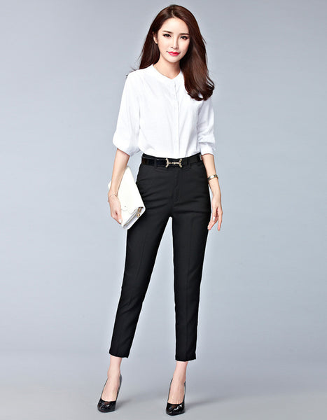 Online discount shop Australia - high waist pencil pants for women office OL style work wear skinny pants female vintage trousers