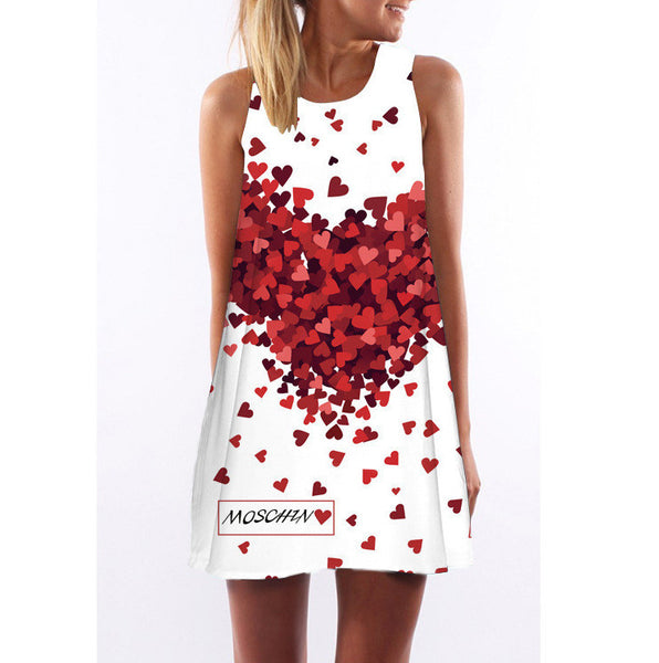 Online discount shop Australia - Bohemian women's dress loose sleeveless peach heart print dress sleeveless A-Beach Party Mini Dress