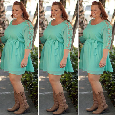 XXXL lace sleeve summer women dresses big sizes plus size women clothing dress casual o-neck dress big size women clothes