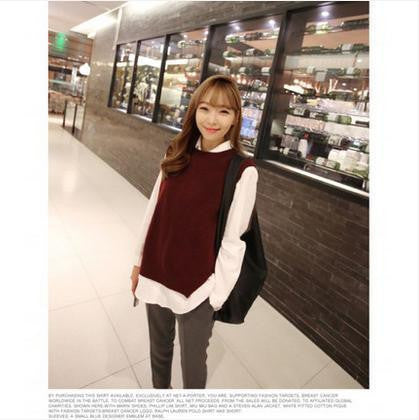 Online discount shop Australia - Loose big yards female hedging sweater vest sweater vest round neck wool vest waistcoat jacket