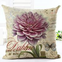 Vintage Flowers Cotton Linen Cushion Cover Decorative Pillowcase Chair Seat and Waist Square 45x45cm Pillow Cover Home Living01a