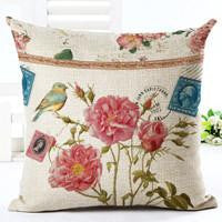 Vintage Flowers Cotton Linen Cushion Cover Decorative Pillowcase Chair Seat and Waist Square 45x45cm Pillow Cover Home Living02a