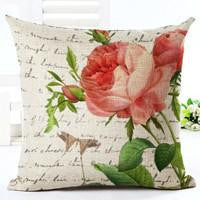 Vintage Flowers Cotton Linen Cushion Cover Decorative Pillowcase Chair Seat and Waist Square 45x45cm Pillow Cover Home Living03a