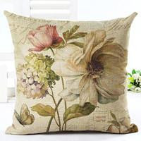 Vintage Flowers Cotton Linen Cushion Cover Decorative Pillowcase Chair Seat and Waist Square 45x45cm Pillow Cover Home Living04a