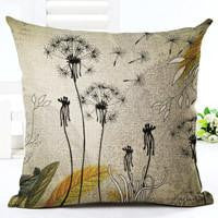 Vintage Flowers Cotton Linen Cushion Cover Decorative Pillowcase Chair Seat and Waist Square 45x45cm Pillow Cover Home Living06a