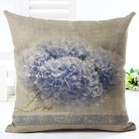 Vintage Flowers Cotton Linen Cushion Cover Decorative Pillowcase Chair Seat and Waist Square 45x45cm Pillow Cover Home Living07a