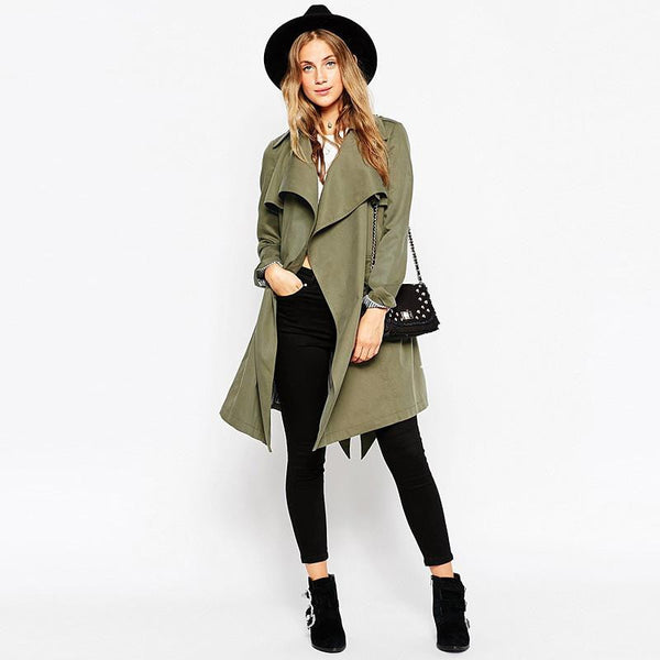 womens Fashion Slim Belt Army Green Trench Outwears Long sleeve Cardigans Coats for Women Coat