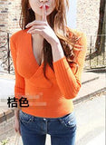 Victoria pullovers women cotton V button neck slim basic thin fashion slim sweaters