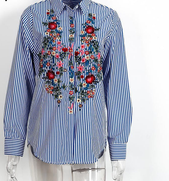 Online discount shop Australia - Casual blue striped shirt  cool long sleeve blouse women tops Embroidery female blouse shirt
