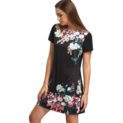 Online discount shop Australia - Dresses For Women Summer New Casual Black Round Neck Short Sleeve Floral Print Vintage Straight Short Dress
