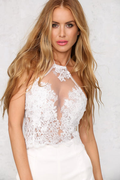 Online discount shop Australia - Lace Crop Tops Elegant White / Black Backless Sexy Gauze Cami Spaghetti Strap Short Halter Beach Cropped Tank Top