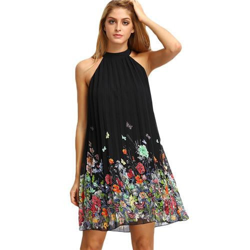 Woman Dress Summer Black Round Neck Sleeveless Womens Casual Clothing Floral Print Cut Away Shift Dresses