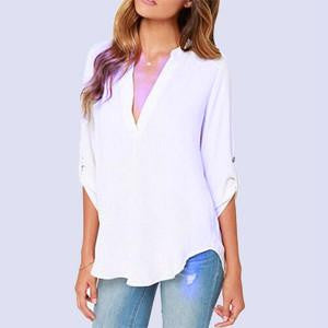 women clothes V-neck long-sleeved blouse wrinkled sleeve loose casual chiffon shirts women 7 colors