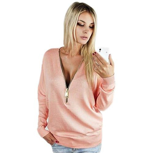 women T Shirt fashion V-Neck long sleeve  women tops zipper sexy t-shirt
