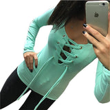 Womens Long Sleeve Lace Up Shirt Bandage Tops