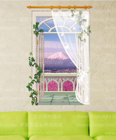 Online discount shop Australia - 9 Styles 3020 Removable Beach Sea 3D Window Scenery Wall Sticker home Decor Decals Mural Decal Exotic Beach View