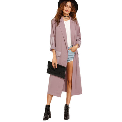 Online discount shop Australia - Casual Long Outerwear Coats For Ladies New Arrival Purple Lapel With Pocket Split Long Sleeve Outerwear