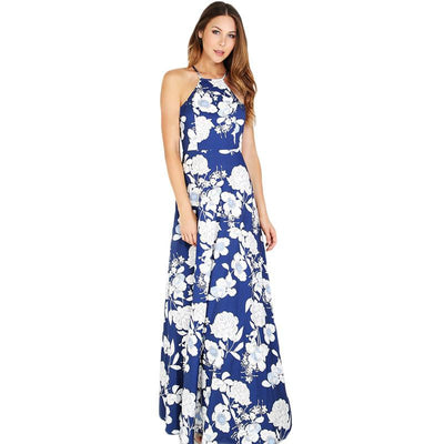 SheIn Womens Summer Maxi Dresses New Arrival Ladies Sleeveless Blue Halter Neck Floral Print Vintage A Line Dress