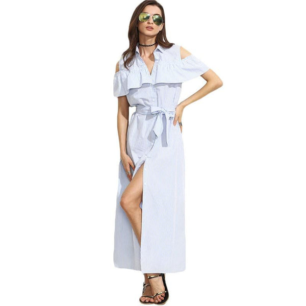 Women Long Dresses Summer Ladies Blue Striped Lapel Short Sleeve Cold Shoulder Ruffle Tie Waist Maxi Dress