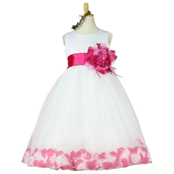 951def6d7a Girls Bridesmaid Dress Rose Petal Hem Cute Princess Tutu Dress Girls  Clothing Sets Wedding Birthday