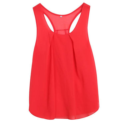 Women's Chiffon Sleeveless Blouse Ladies Loose Casual Vest Tank Tops