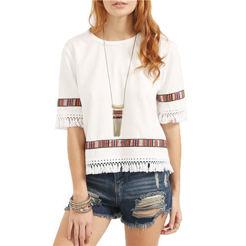 Online discount shop Australia - Beige Vintage Embroidered Fringe Blouses  Womens Casual Tops Round Neck Half Sleeve Patchwork Blouse