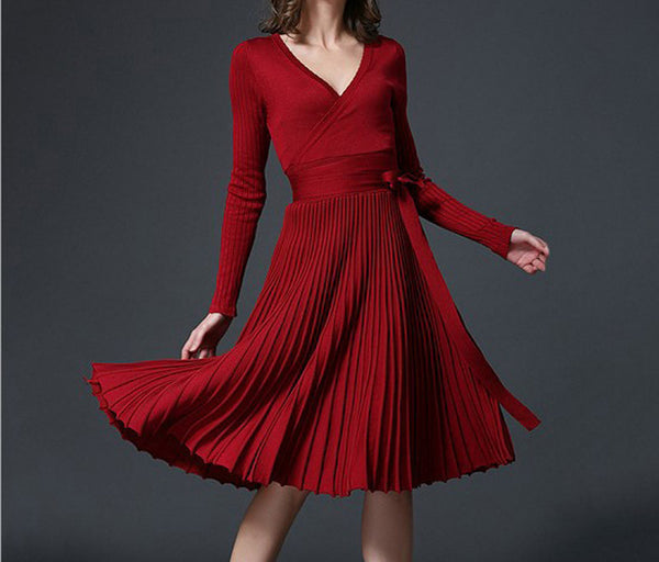 Online discount shop Australia - European Design Elegant Autumn Dress V-neck Women Casual Long Sleeve Knitted Dress Brand Fashion Pleated Ladies Dreses