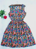 Women casual Bohemian floral flaky clouds sleeveless vest printed beach chiffon dress