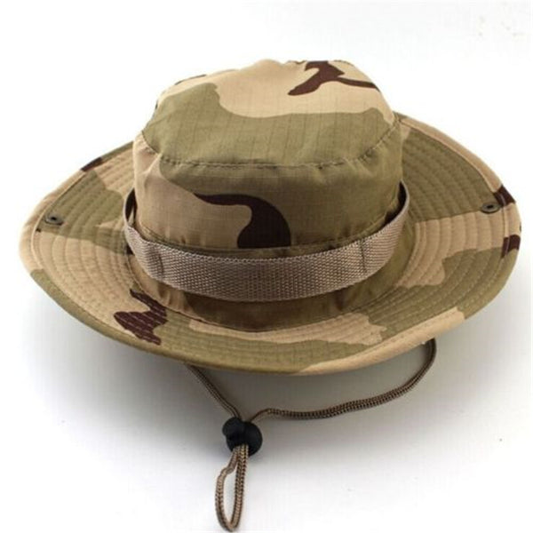 Online discount shop Australia - Camouflage Bucket Hats Wide Brim Sun Cap Ripstop Camo Fishing Hunting Hiking Men Safari Jungle with String Boonie Hat
