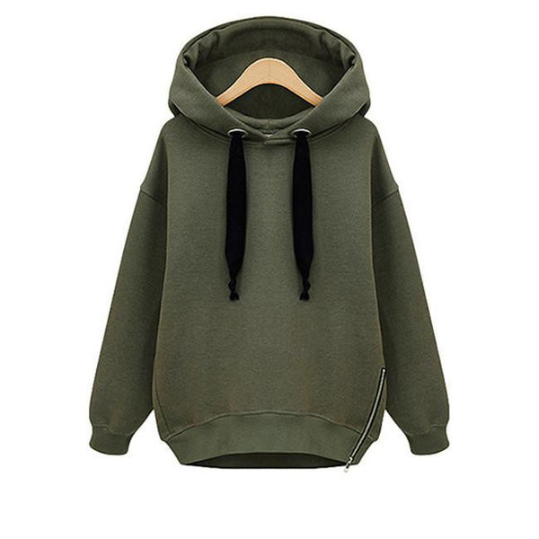 Online discount shop Australia - High Quality New Women Cotton Loose Hooded Jacket Thicken Velvet Long Sleeve Sweatshirt Fashion Style Hoodies M-4XL