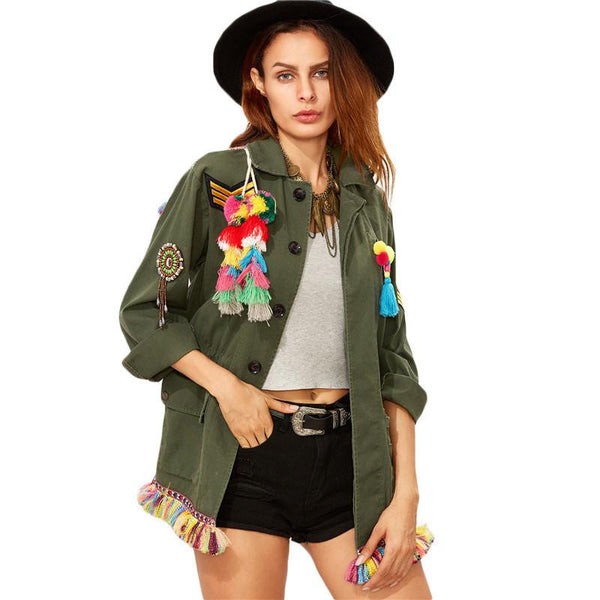 Vintage Jackets Women Olive Green Lapel Long Sleeve Single Breasted Tribal Back Tassel Embellished Utility Jacket