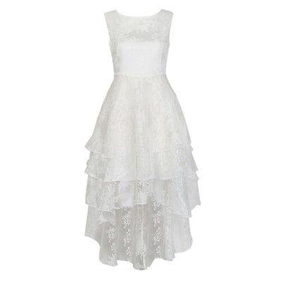White Lace Floral Layered Sleeveless Round Neck Dress High Low Hem Women Spring Summer Novelty Designer Women ELegant Wear