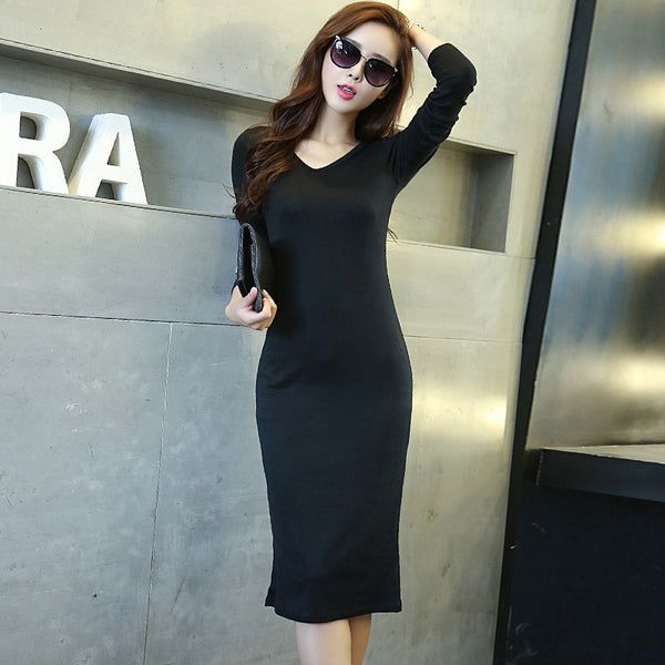 Online discount shop Australia - Ladies Elegant Knit Winter Dress Autumn Fashion Sexy Slim Long Sleeve Mid-calf Women Clothing Long Party Dresses