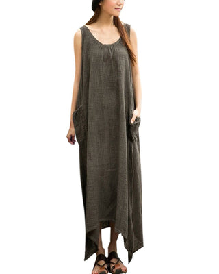 Women Casual Loose Sleeveless Long Dress Vintage Pockets Cotton Irregular Maxi Dresses Plus Size Vestidos